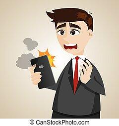 ビジネスマン, smartphone, 漫画, 間違い