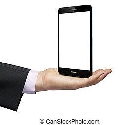 ビジネスマン, smartphone, 空