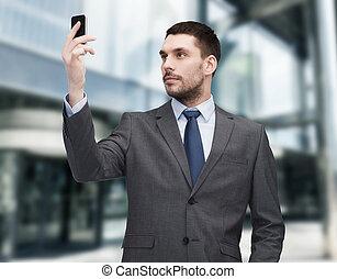 ビジネスマン, smartphone, 若い