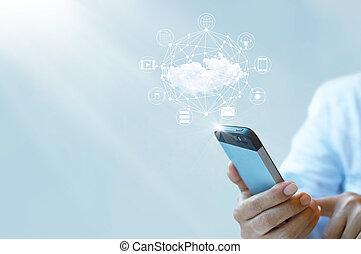 ビジネスマン, smartphone, 雲, 仕事, 計算
