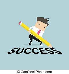 ビジネスマン, success., 鉛筆, 執筆