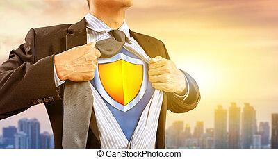 ビジネスマン, superhero, 保護, 衣装
