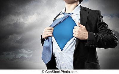 ビジネスマン, superhero, 若い