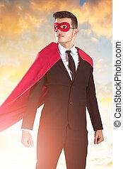 ビジネスマン, superhero, 衣装, 肖像画