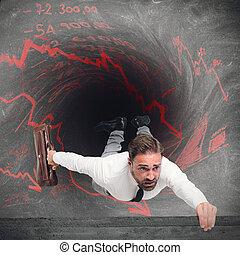 ビジネスマン, swallowed, によって, 負債