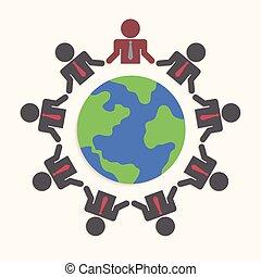 ビジネスマン, teamw, のまわり, 世界