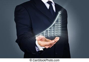 ビジネスマン, wireframe, 上昇, チャート, モード