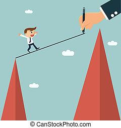 ビジネスマン, writting, 方法, ∥ために∥, 彼の, パートナー, へ, 容易である, 交差点, 他, 丘,...