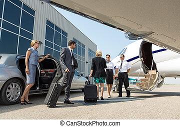 ビジネス専門家, について, へ, 板, 個人のジェット機