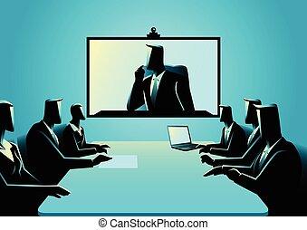 ビジネス男性たち, テレコンファレンス, ミーティング, 持つこと, 女性