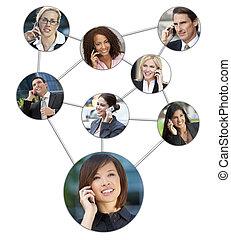 ビジネス男性たち, 女性, 携帯電話, コミュニケーション, ネットワーク