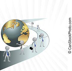 ビジネス男性たち, 道, そして, 世界
