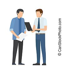 ビジネス男性たち, 2, ベクトル, 計画, 論じる, ビジネスマン