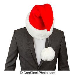 ビジネス男, ∥で∥, a, サンタの 帽子
