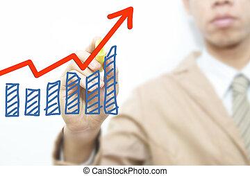 ビジネス男, ドロー, グラフ, 上に, ∥, スクリーン, 背景