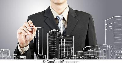 ビジネス男, ドロー, 建物, そして, 都市の景観