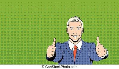 ビジネス男, ポイント, 親指, 指, の上, 芸術, カラフルである, retro 様式