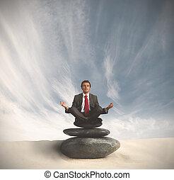 ビジネス男, リラックスする, 上に, ∥, 石