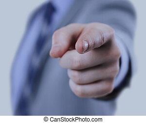 ビジネス男, 中に, a, スーツ, 指すこと, ∥で∥, 彼の, 指