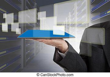 ビジネス男, 保有物, 接触 パッド, pc, 新しい技術, 革新