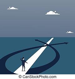 ビジネス男, 失われた, 地位, 上に, 道, 選びなさい, 方向, 方法, 矢
