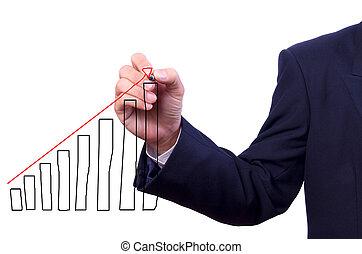 ビジネス男, 手, 図画, グラフ