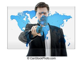 ビジネス男, 押す, 上に, a, タッチスクリーン, インターフェイス, ∥で∥, 世界, map., 隔離された, 上に, white.