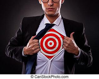 ビジネス男, 提示, a, ターゲット, 下に, 彼の, ワイシャツ