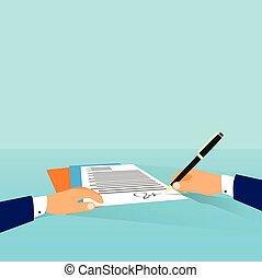 ビジネス男, 文書, 署名, の上, 契約, 合意, ビジネスマン, 仕事場, ∥において∥, オフィス机, 書きなさい