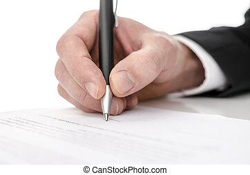 ビジネス男, 署名, a, 契約
