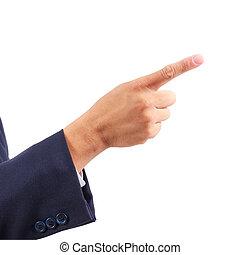 ビジネス男, 隔離された, 指すこと, 手