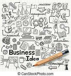 ビジネス考え, doodles, アイコン, set.