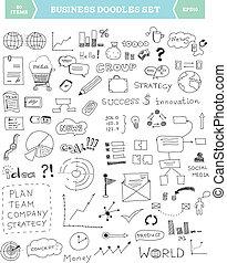 ビジネス, いたずら書き, 要素, セット