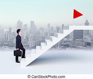 ビジネス, の上, 背景, 人, 都市, ステップ, 赤, 階段, 旗