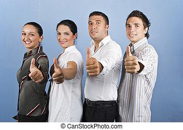 ビジネス, の上, 若い, チーム, 親指, 寄付