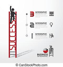 ビジネス, はしご, イラスト, concept., ベクトル, infographic, 上昇
