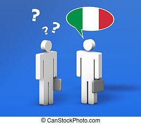 ビジネス, イタリア語, チャット, 概念