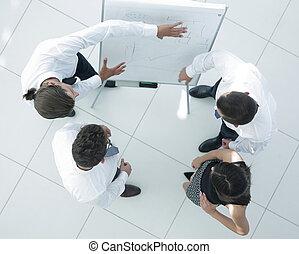 ビジネス, イメージ, 考え, top., 背景, チーム, 新しい, 論じる, 光景