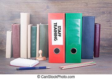 ビジネス, オフィス。, つなぎ, 背景, 机, training., スタッフ