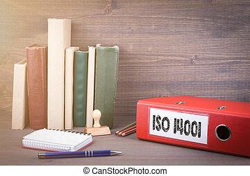 ビジネス, オフィス。, 14001., つなぎ, iso, 背景, 机