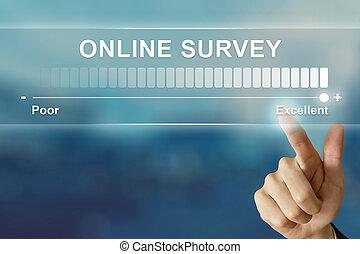 ビジネス, オンラインで, 事実上, かちりと鳴ること, 手, 優秀である, スクリーン, 調査