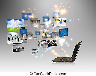 ビジネス, オンラインで, 概念