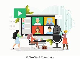 ビジネス, オンラインで, illustration., 人々, ビデオ, ミーティング, 平ら, 技術, ベクトル, 会議, webinar, 保有物, テレビ会議