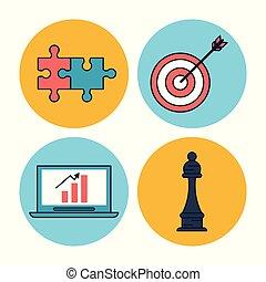 ビジネス, カラフルである, アイコン, ラップトップ, 背景, 円, 小片, コンピュータ, チェス, 矢, フレーム, 白, 小片, 企業である, 困惑, ターゲット