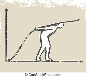 ビジネス, グラフ, の上, 線, 成長しなさい, 人