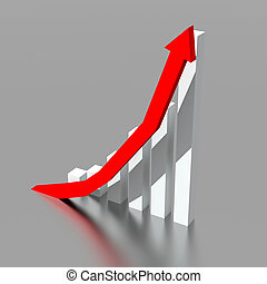 ビジネス, グラフ, の上, 行く, 矢, 赤