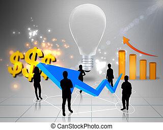 ビジネス, グラフ, ドル, 考え, 印, チーム