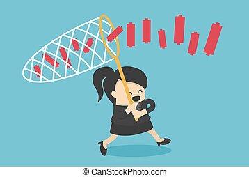 ビジネス, グラフ, 女性, イラスト, パートナー, 概念, 網, 追跡