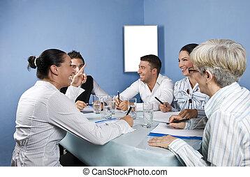 ビジネス, グループ, ミーティング, 楽しい時を 過すこと
