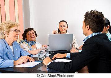 ビジネス, グループ, 持つこと, ミーティング